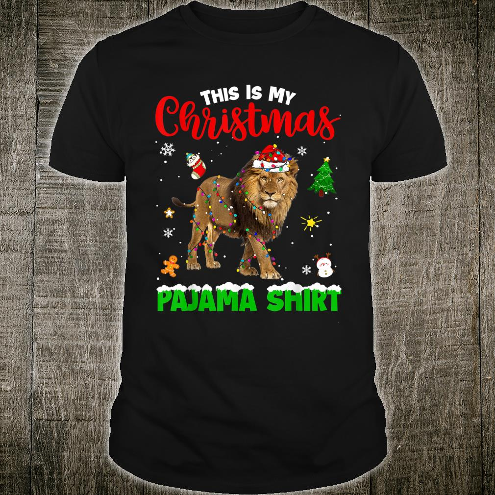 Funny This Is My Christmas Pajama Lion Red Plaid Shirt