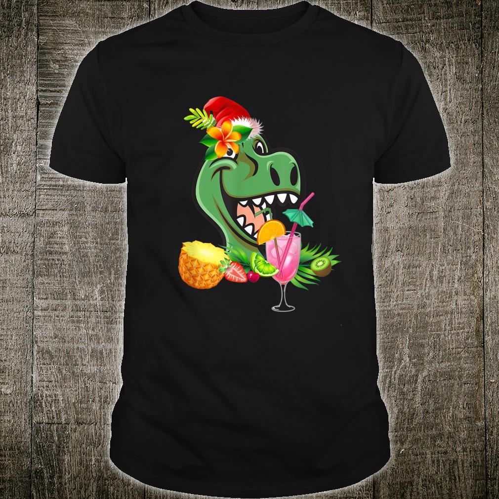 Funny Trex Dinosaur Tropical Christmas Hawaii Shirt