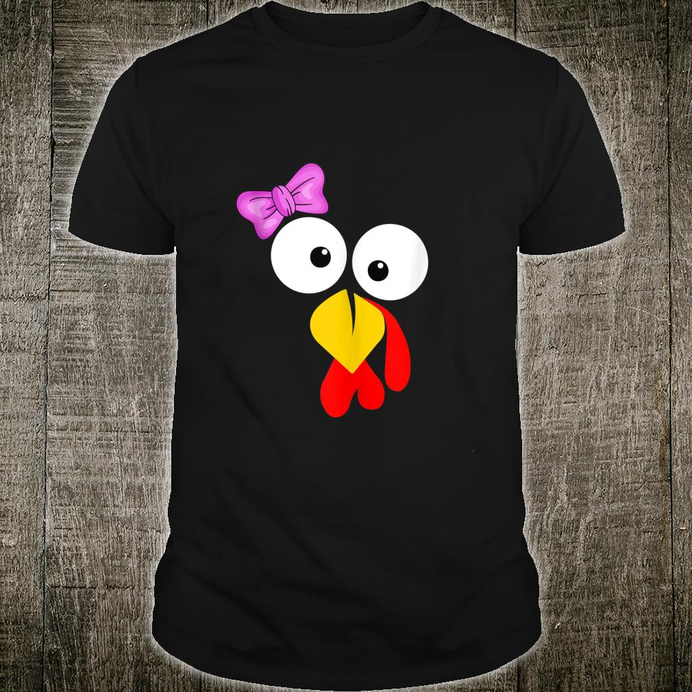 Funny Turkey Face Girl Pink Bow Thanksgiving daughter Shirt