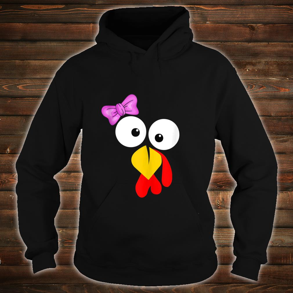 Funny Turkey Face Girl Pink Bow Thanksgiving daughter Shirt hoodie