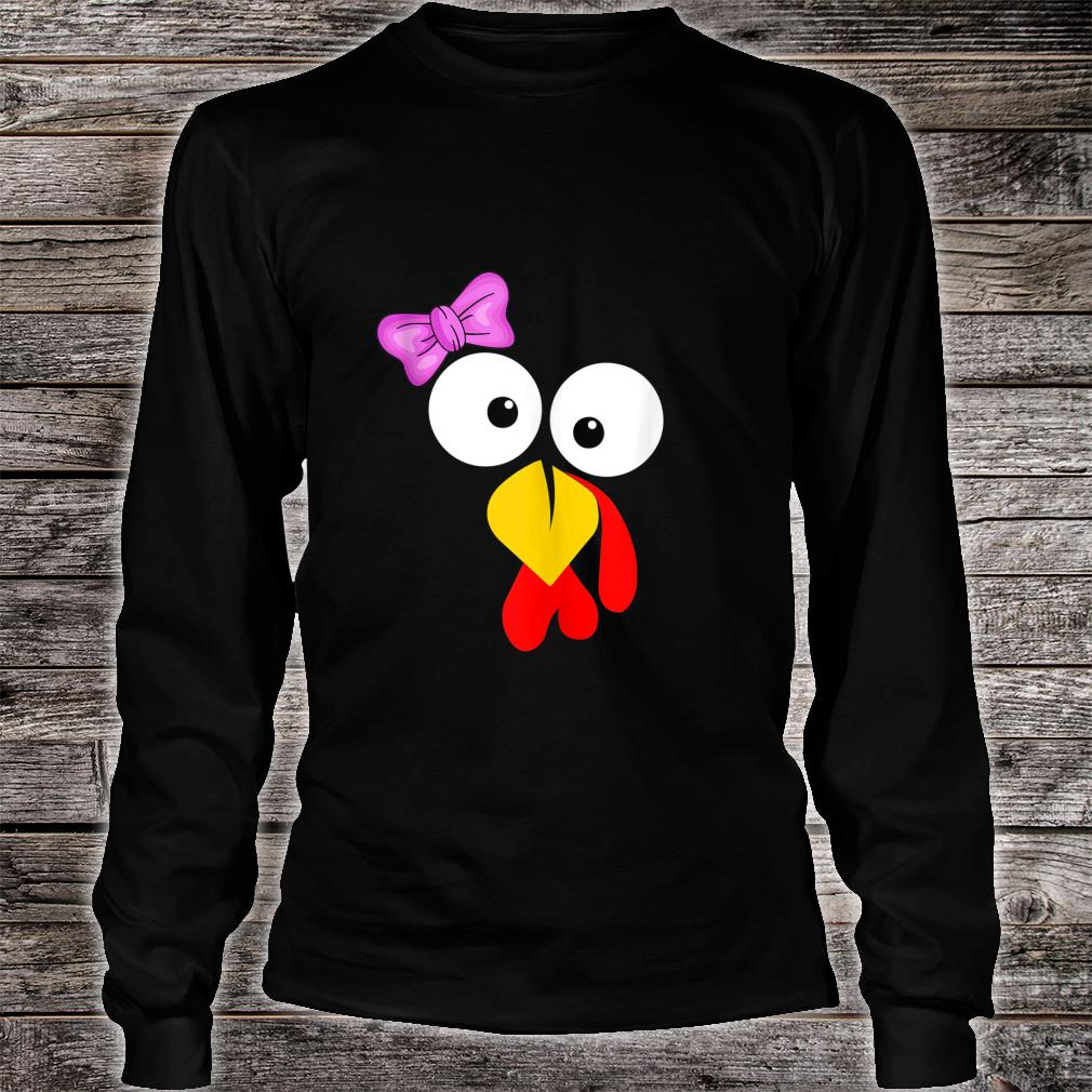 Funny Turkey Face Girl Pink Bow Thanksgiving daughter Shirt long sleeved