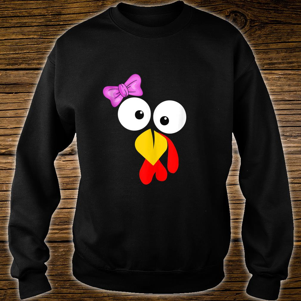 Funny Turkey Face Girl Pink Bow Thanksgiving daughter Shirt sweater