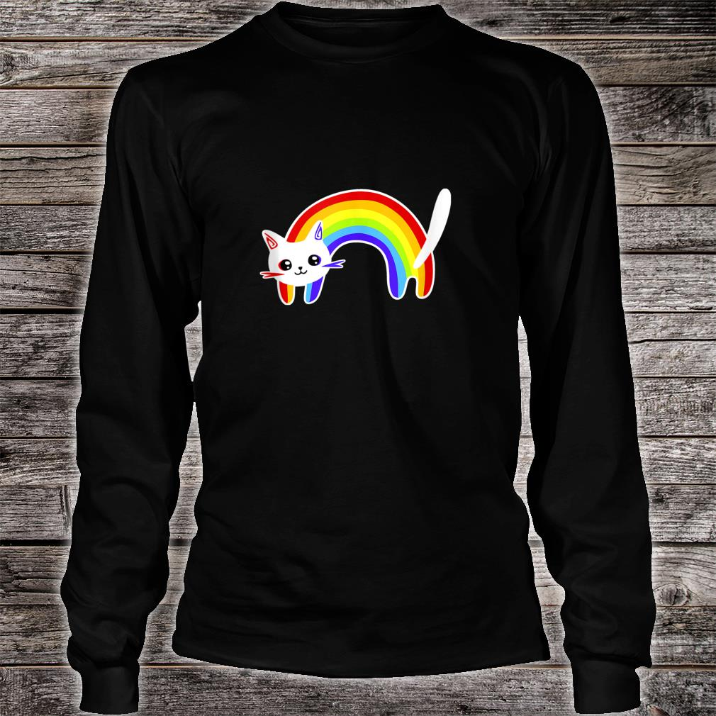 Funny Vintage Retro Rainbow Cat  Cute Cats Shirt long sleeved