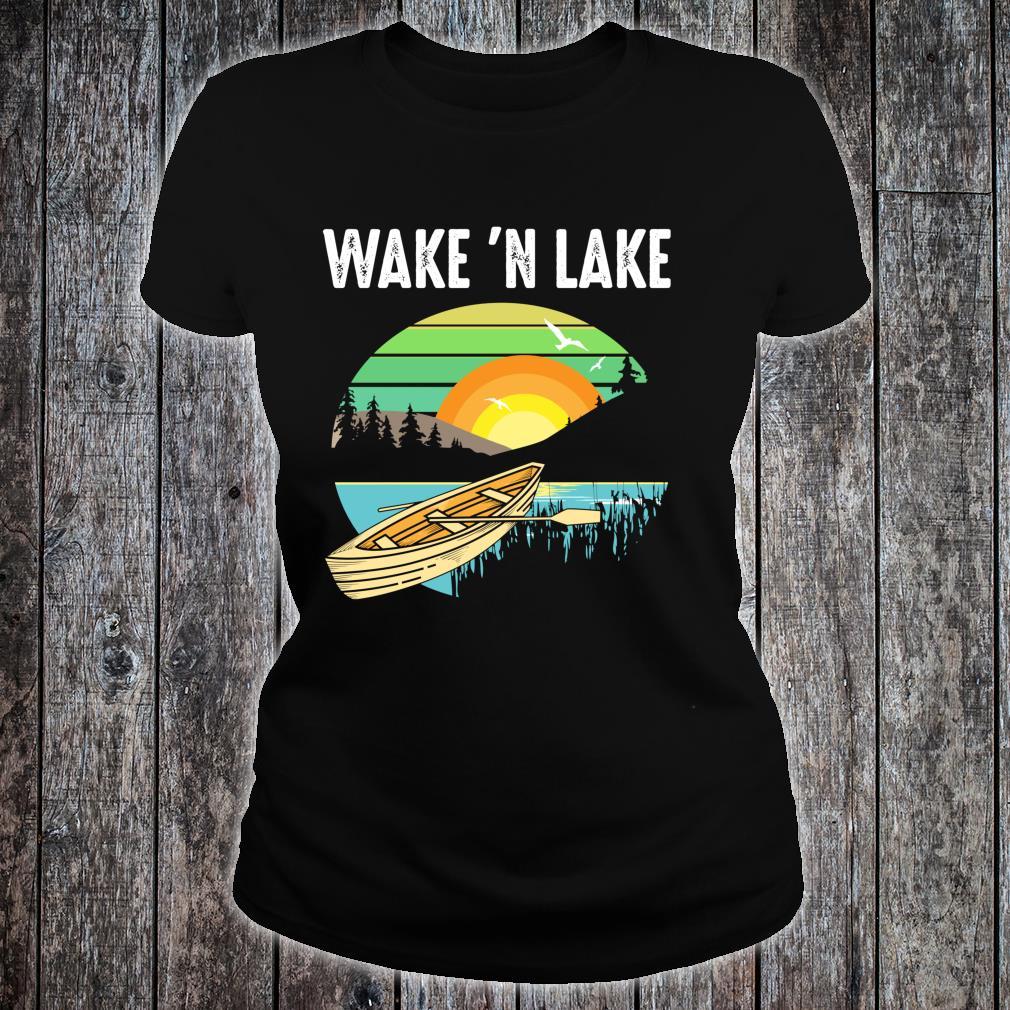 Funny Wake 'n Lake Camping Boys Girls Kid Shirt ladies tee