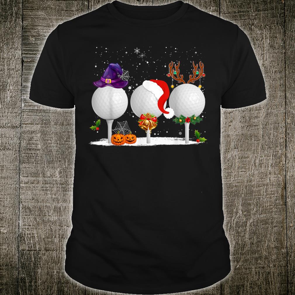 Funny Witch Santa Claus Reindeer Golf Christmas Shirt