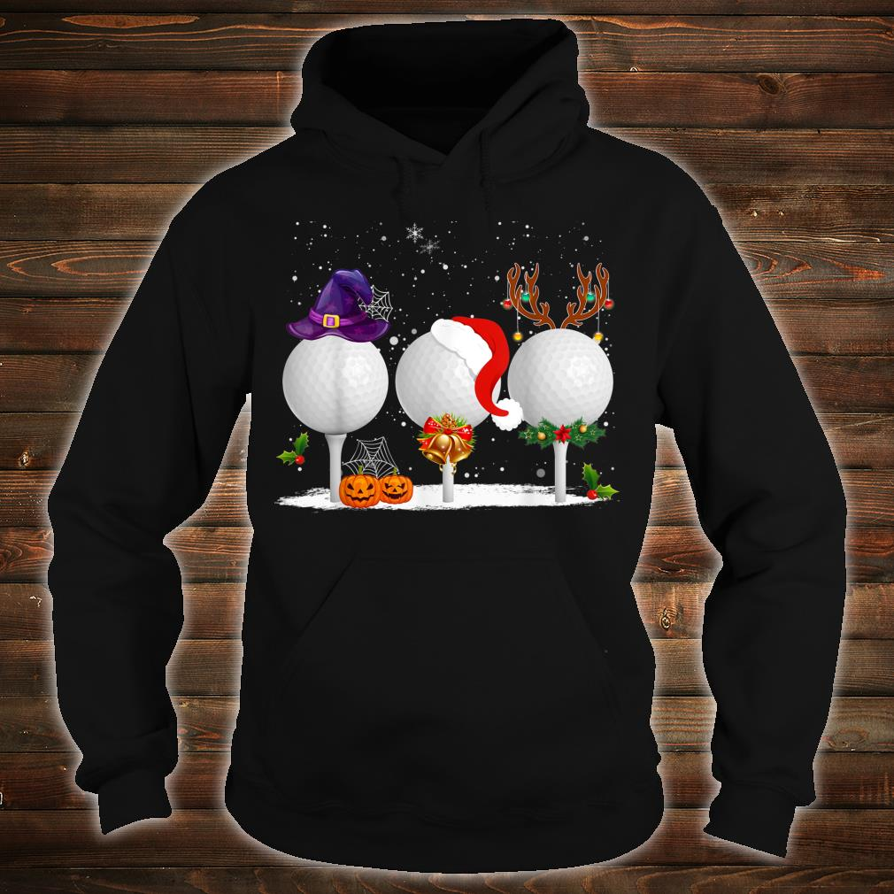 Funny Witch Santa Claus Reindeer Golf Christmas Shirt hoodie