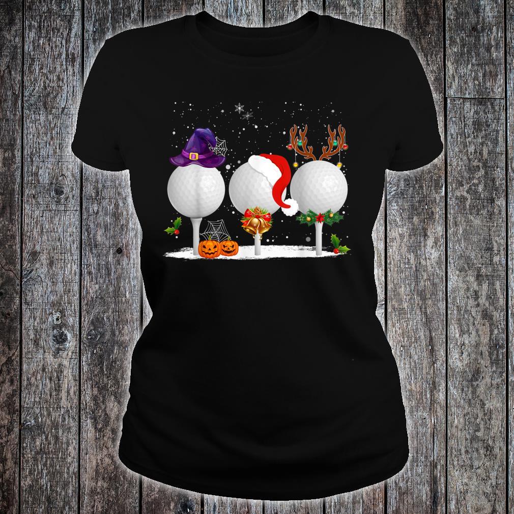 Funny Witch Santa Claus Reindeer Golf Christmas Shirt ladies tee