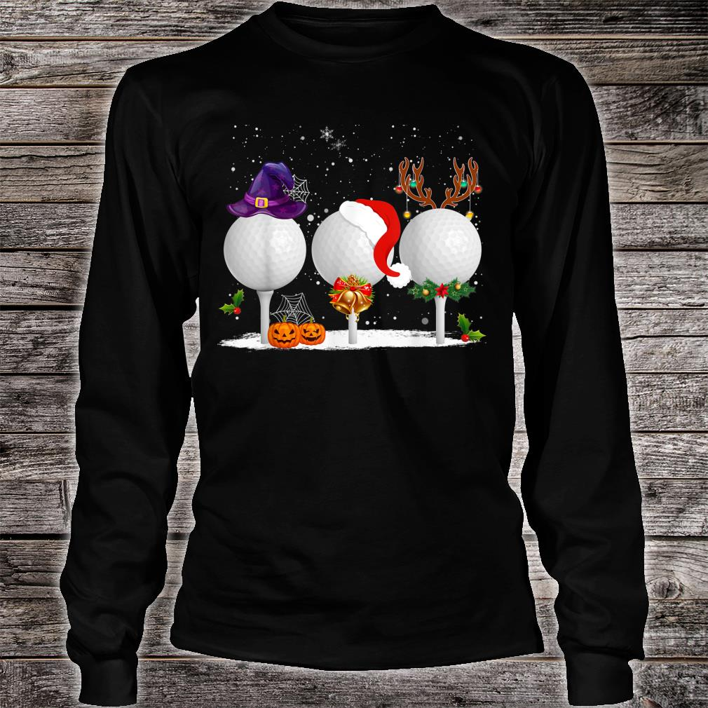 Funny Witch Santa Claus Reindeer Golf Christmas Shirt long sleeved