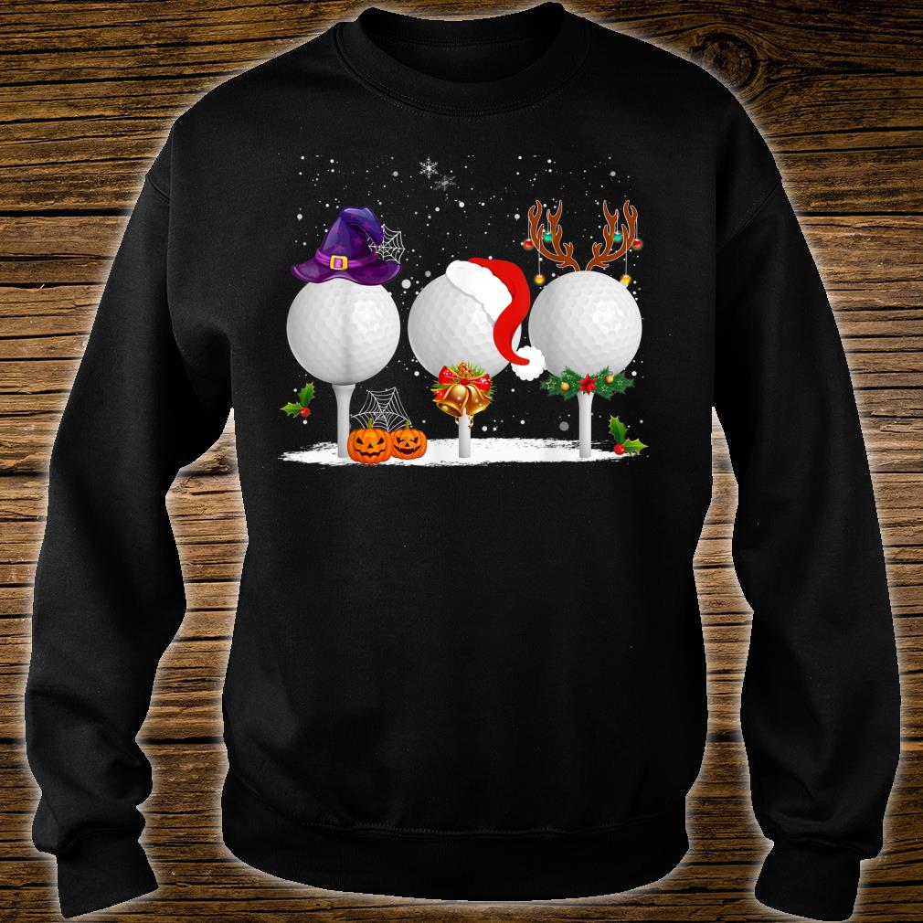 Funny Witch Santa Claus Reindeer Golf Christmas Shirt sweater