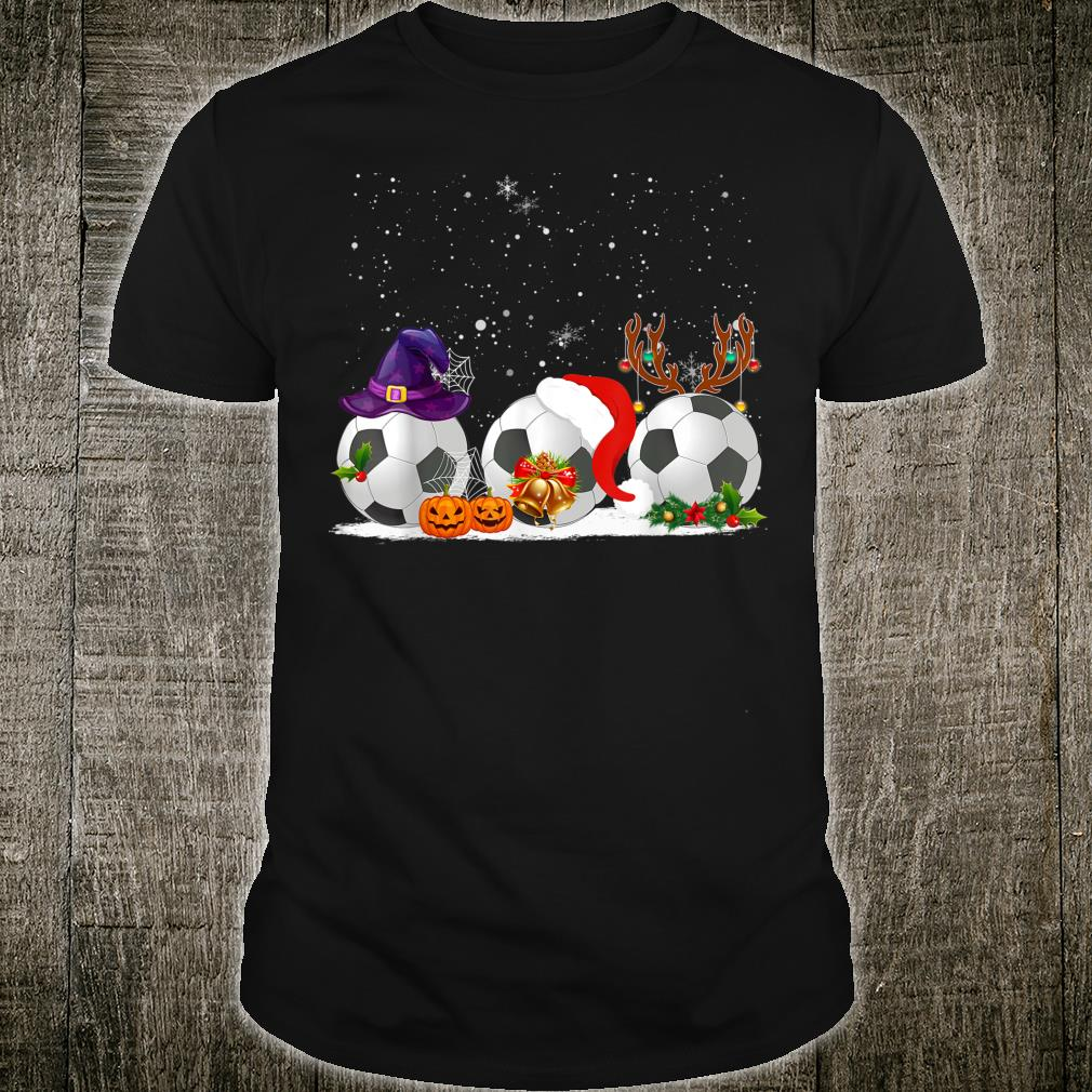 Funny Witch Santa Claus Reindeer Soccer Christmas Shirt