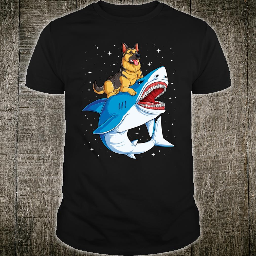 German Shepherd Riding Shark Jawsome Dog Galaxy Shirt