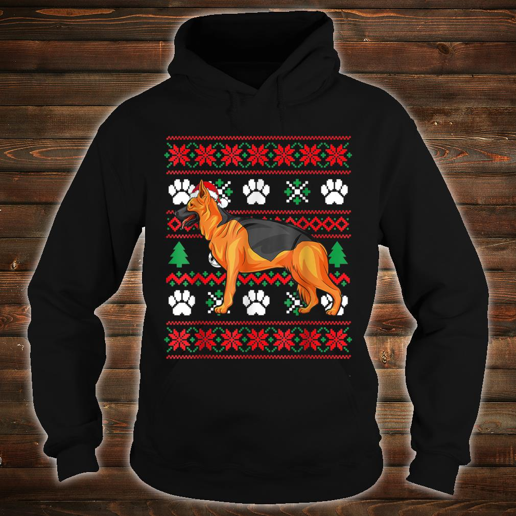 German shepherd Ugly Christmas Santa Hat Shirt hoodie