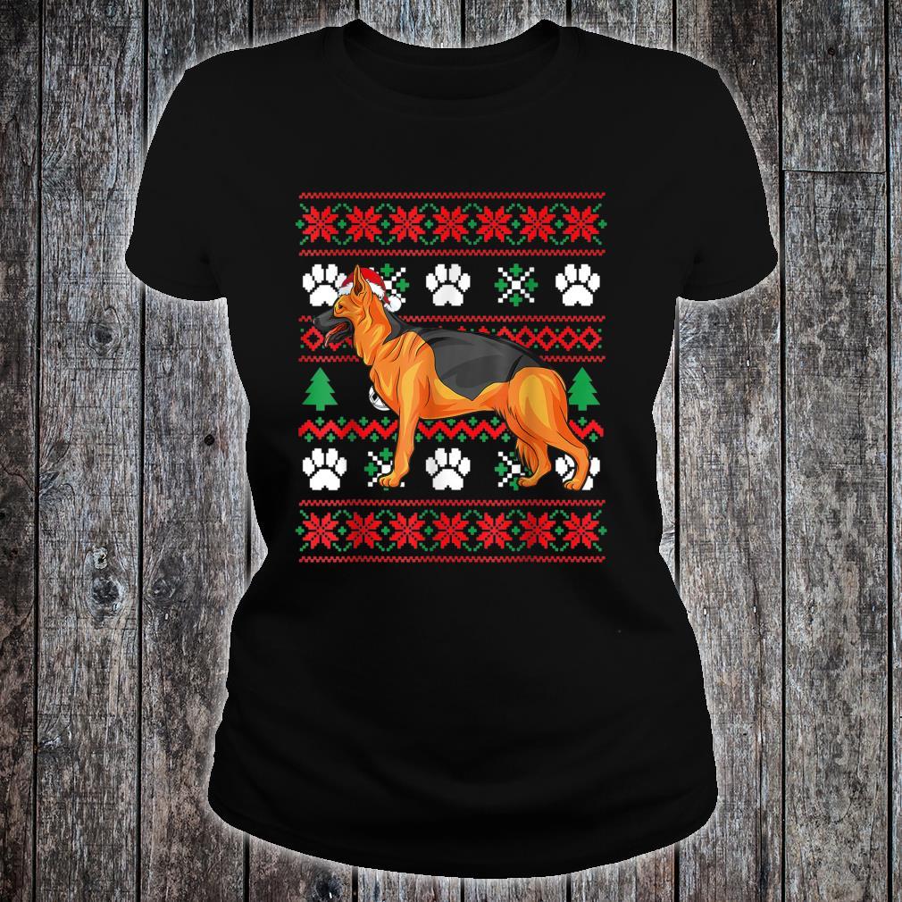 German shepherd Ugly Christmas Santa Hat Shirt ladies tee