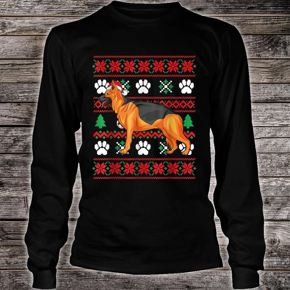 German shepherd Ugly Christmas Santa Hat Shirt long sleeved