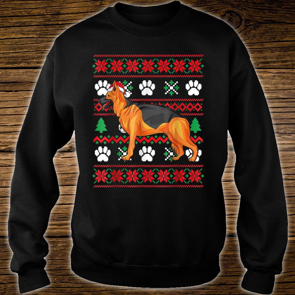 German shepherd Ugly Christmas Santa Hat Shirt sweater