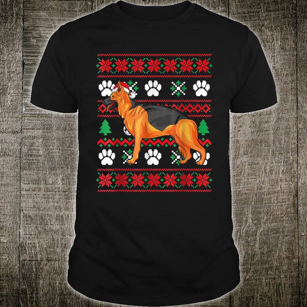 German shepherd Ugly Christmas Santa Hat Shirt