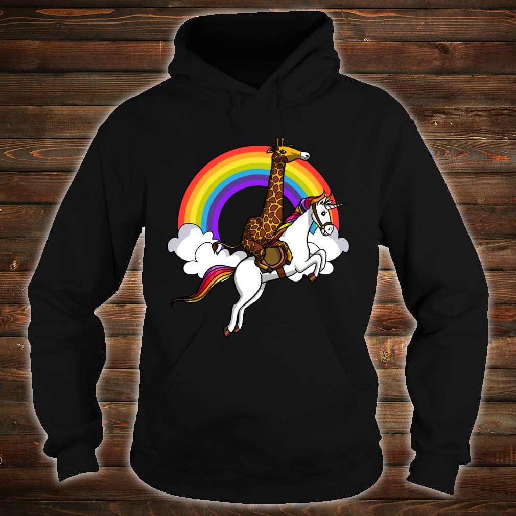 Giraffe Reitet Auf Einhorn Magisce Regenbogen Kinder Shirt hoodie