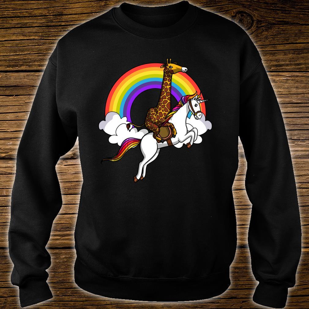 Giraffe Reitet Auf Einhorn Magisce Regenbogen Kinder Shirt sweater