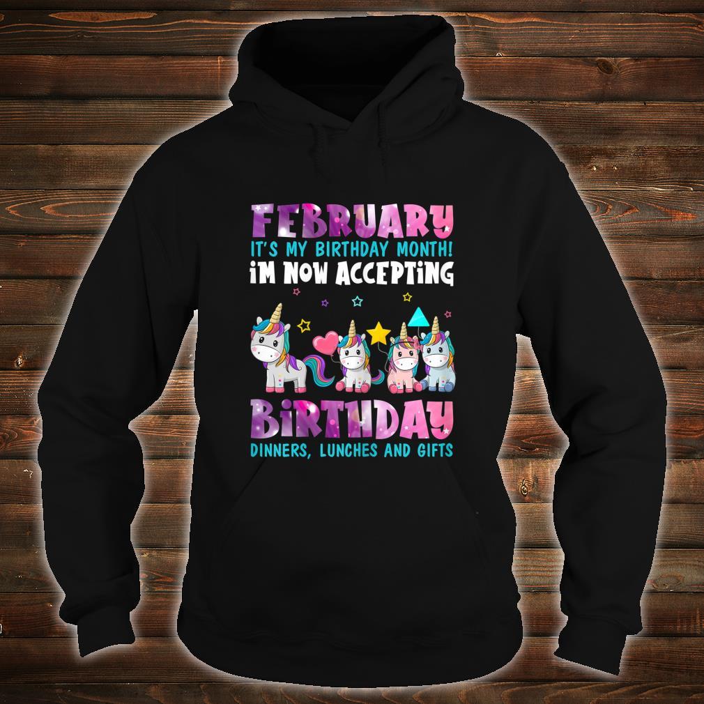 Girls FEBRUARY My Month Of Birthday Cute Unicorn Shirt hoodie