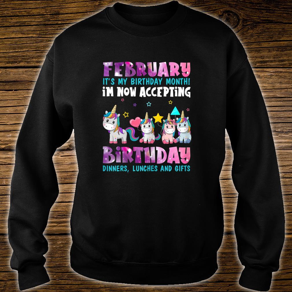 Girls FEBRUARY My Month Of Birthday Cute Unicorn Shirt sweater