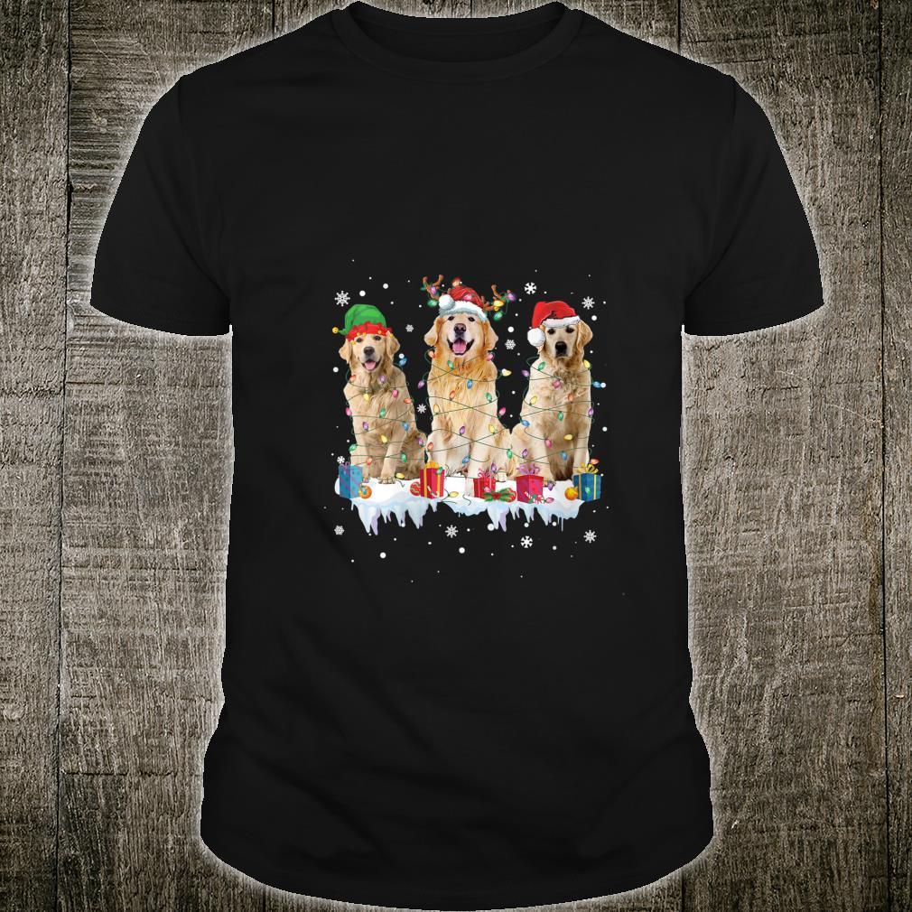 Golden Retriever Christmas Lights Santa Elf Reindeer Dog Lov Shirt