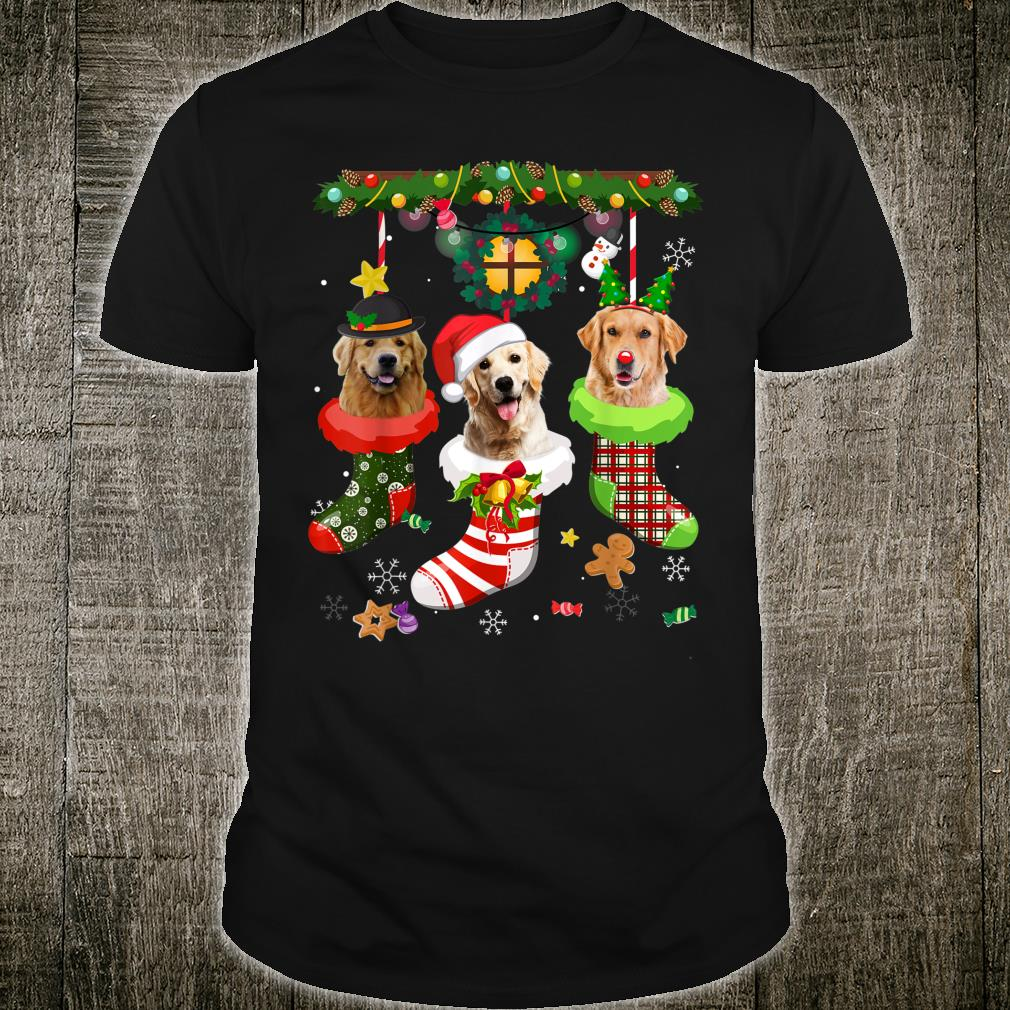 Golden Retriever In Sock Christmas Santa Hat Xmas Light Shirt