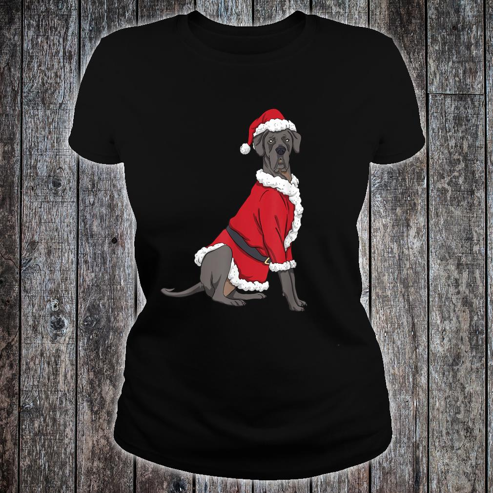 Great Dane Christmas Dog Santa Xmas Shirt ladies tee