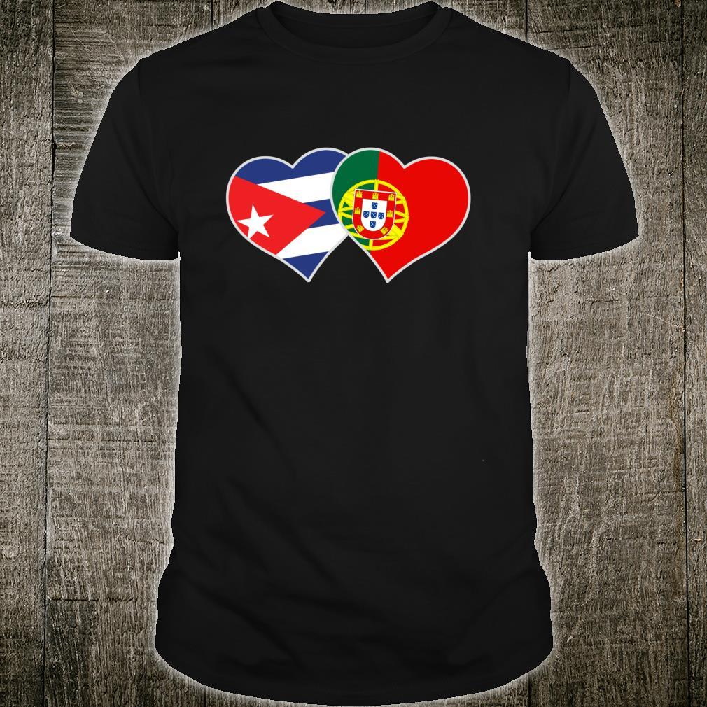 Half Cuban Half Portuguese Flag Heart Cuba Portugal Shirt