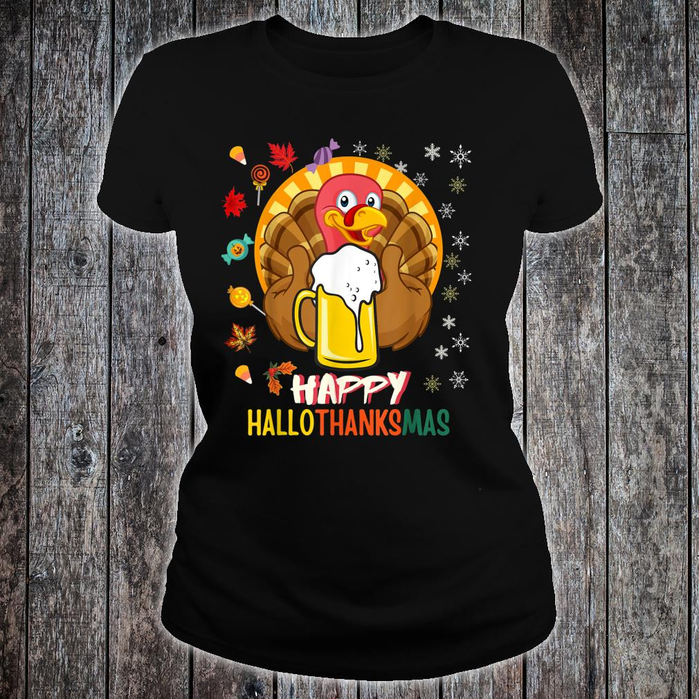 HalloThanksMas Beer Mug Halloween Thanksgiving Christmas Shirt ladies tee