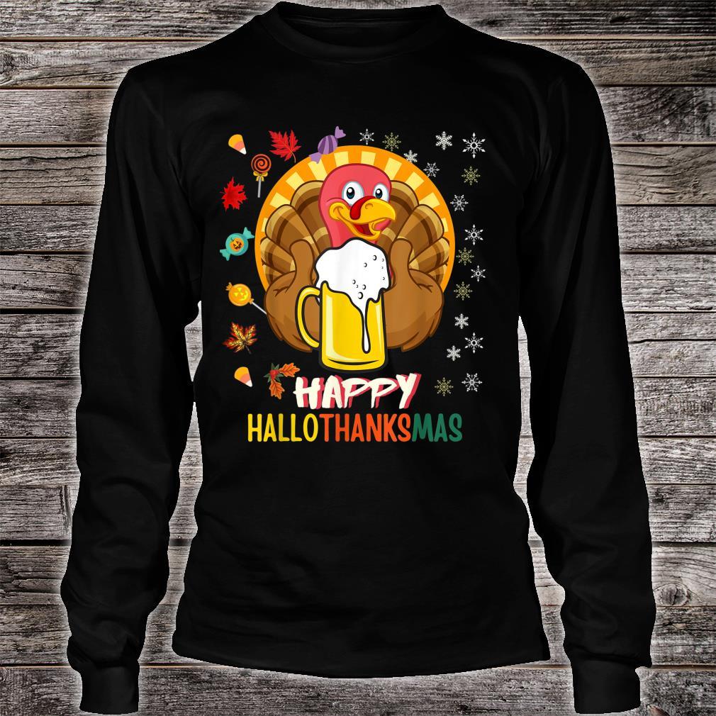 HalloThanksMas Beer Mug Halloween Thanksgiving Christmas Shirt long sleeved