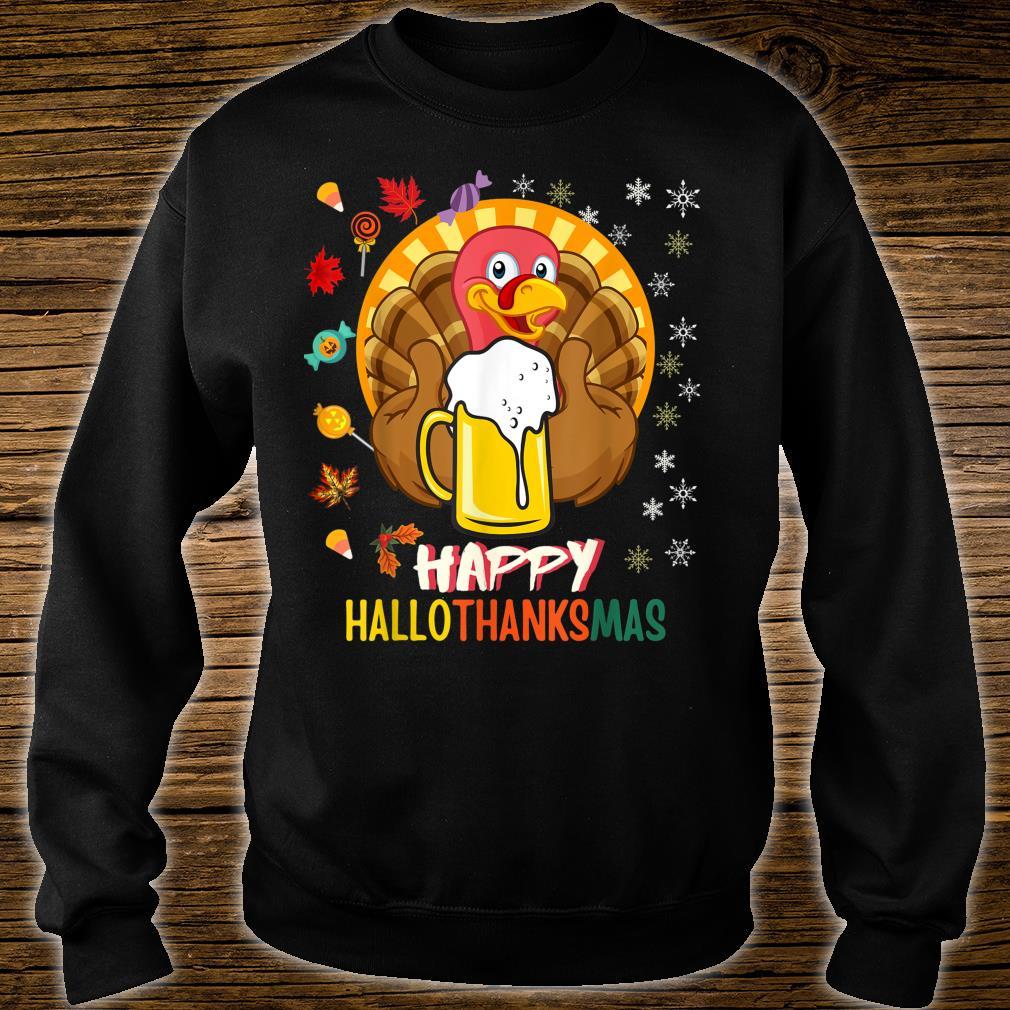 HalloThanksMas Beer Mug Halloween Thanksgiving Christmas Shirt sweater