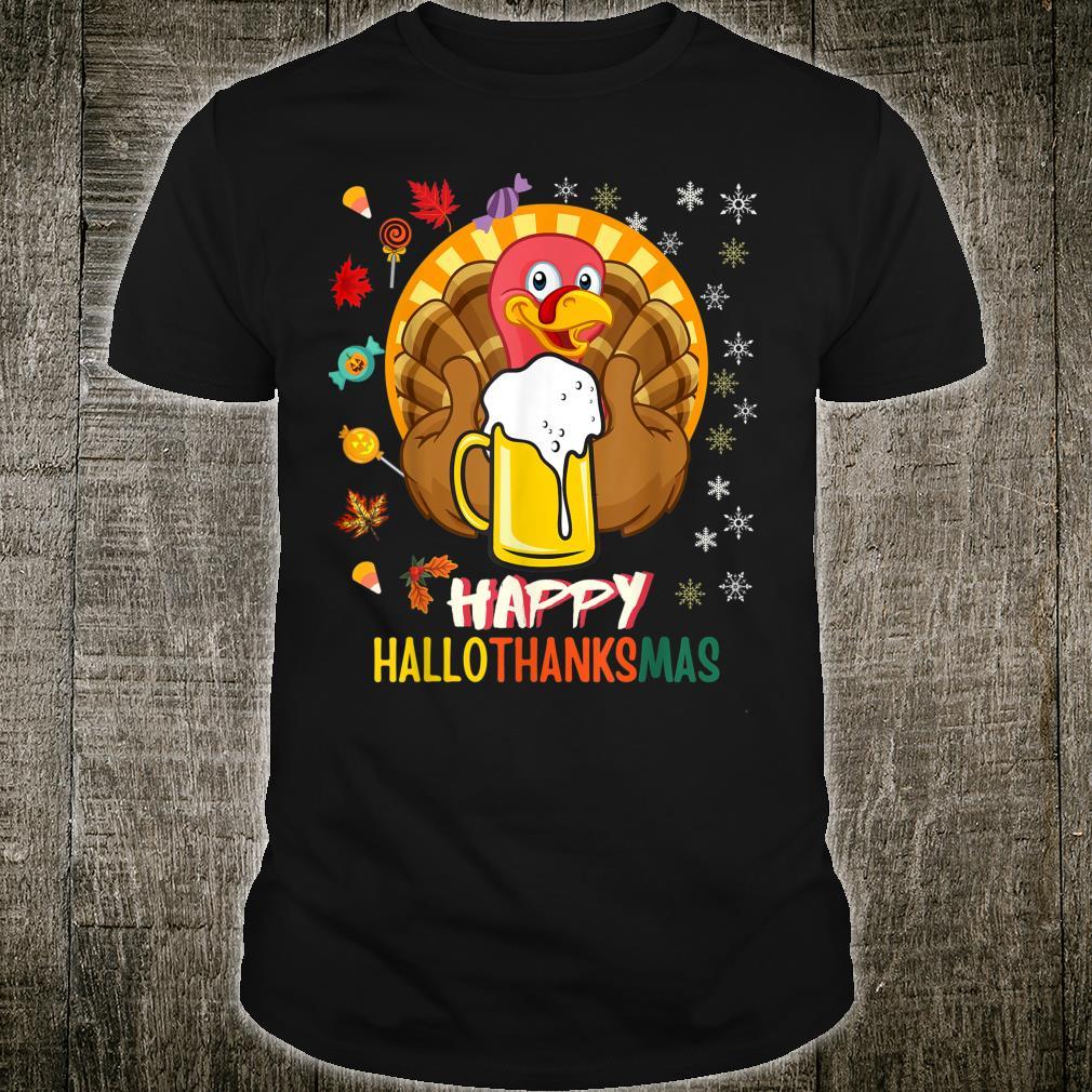 HalloThanksMas Beer Mug Halloween Thanksgiving Christmas Shirt