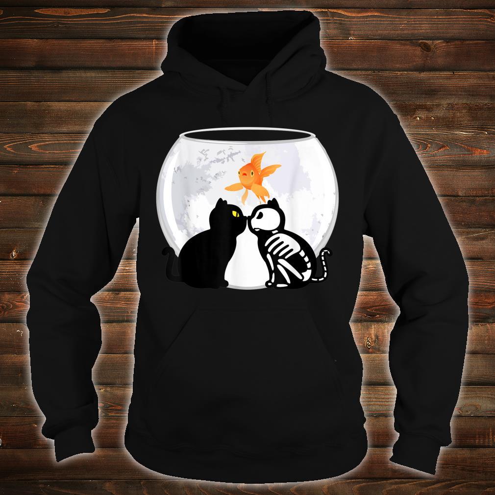 Halloween Katzen Kätzchen Skelett Mond gruselig Shirt hoodie
