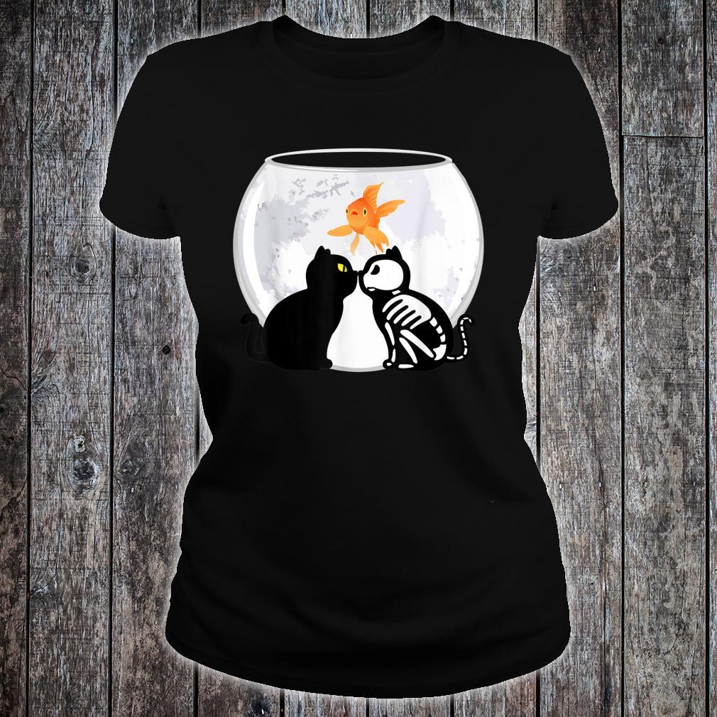 Halloween Katzen Kätzchen Skelett Mond gruselig Shirt ladies tee