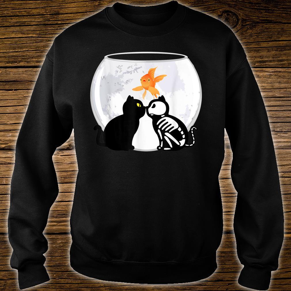 Halloween Katzen Kätzchen Skelett Mond gruselig Shirt sweater