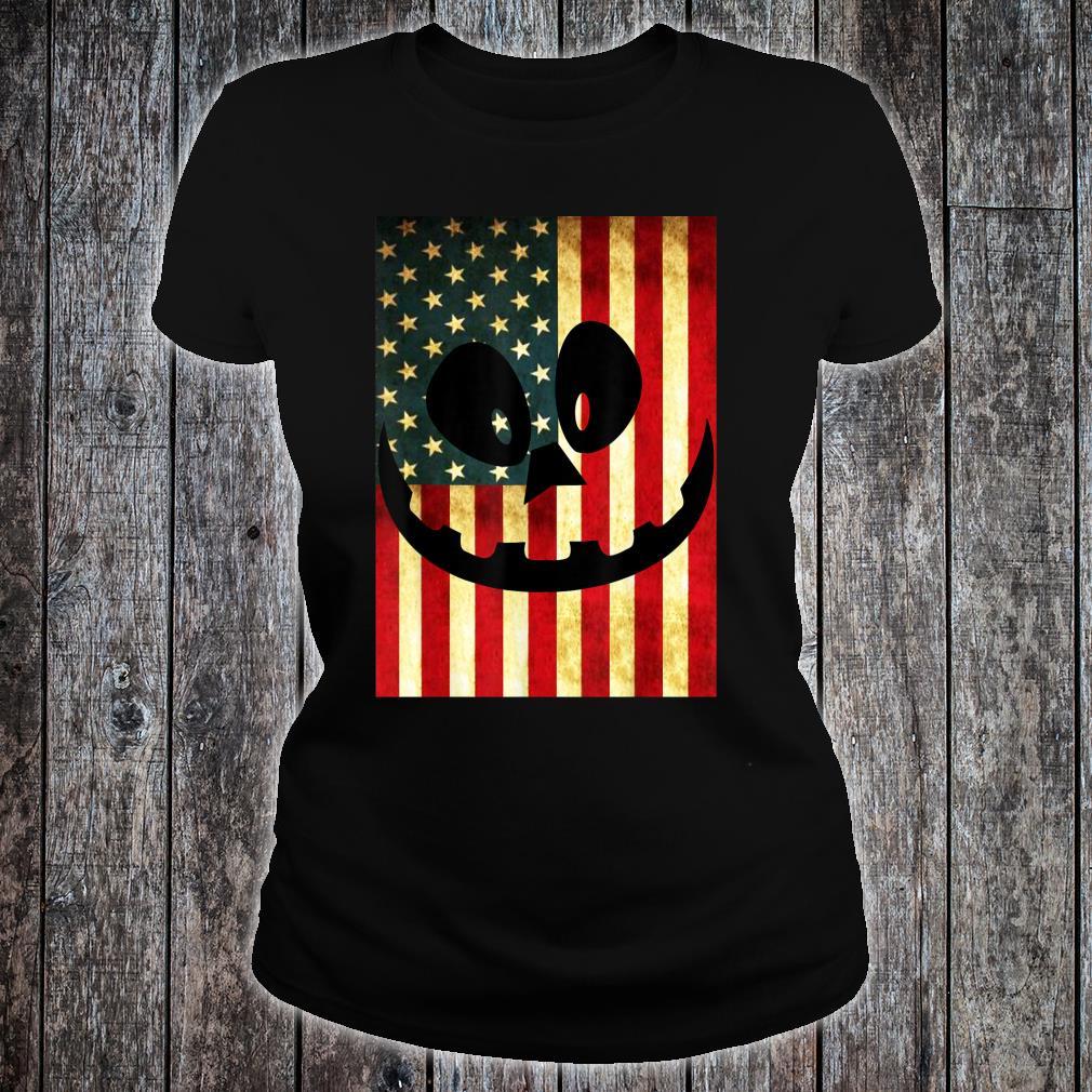 Halloween Pumpkin Lantern USA Flag Pumpkin Patriotism Shirt ladies tee