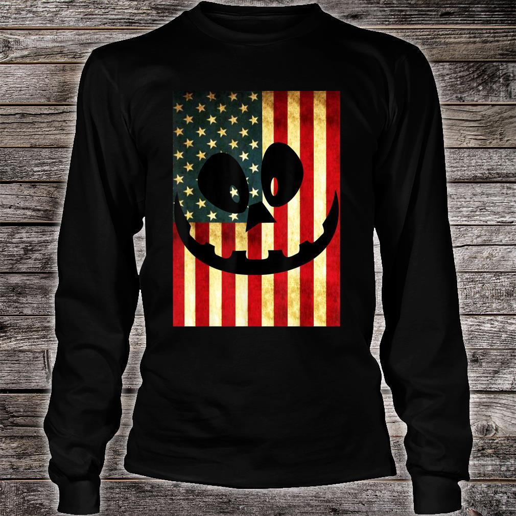Halloween Pumpkin Lantern USA Flag Pumpkin Patriotism Shirt long sleeved