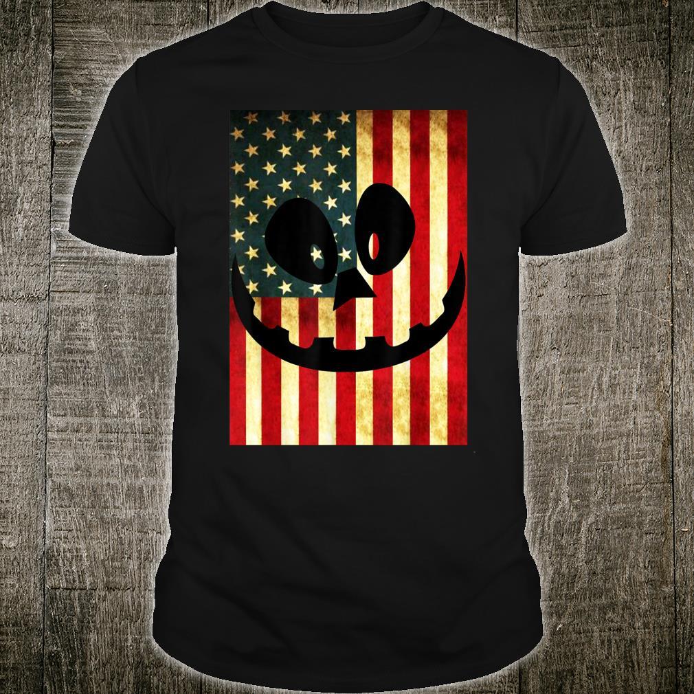 Halloween Pumpkin Lantern USA Flag Pumpkin Patriotism Shirt