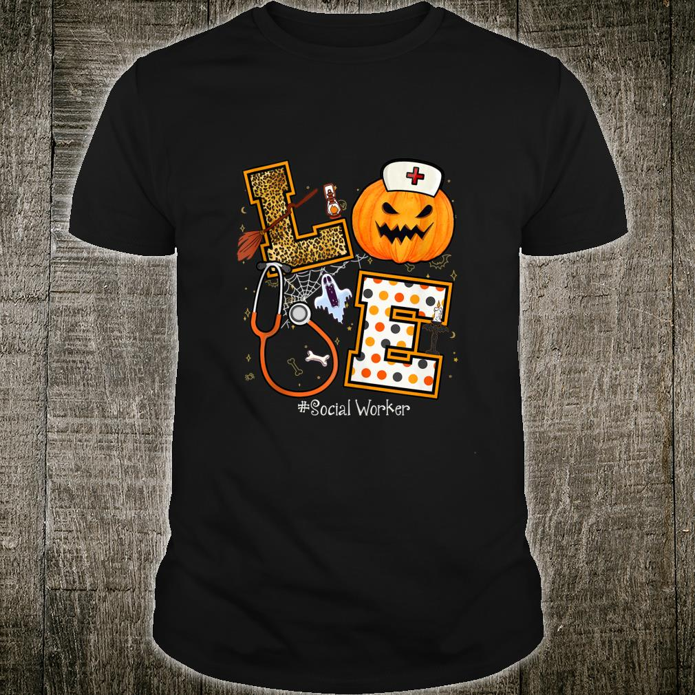 Halloween Pumpkin Love Social Worker Nurse Symbol Shirt