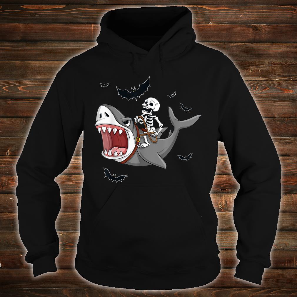 Halloween Skeleton Riding Shark Shirt hoodie
