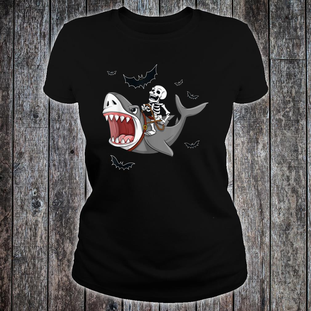 Halloween Skeleton Riding Shark Shirt ladies tee
