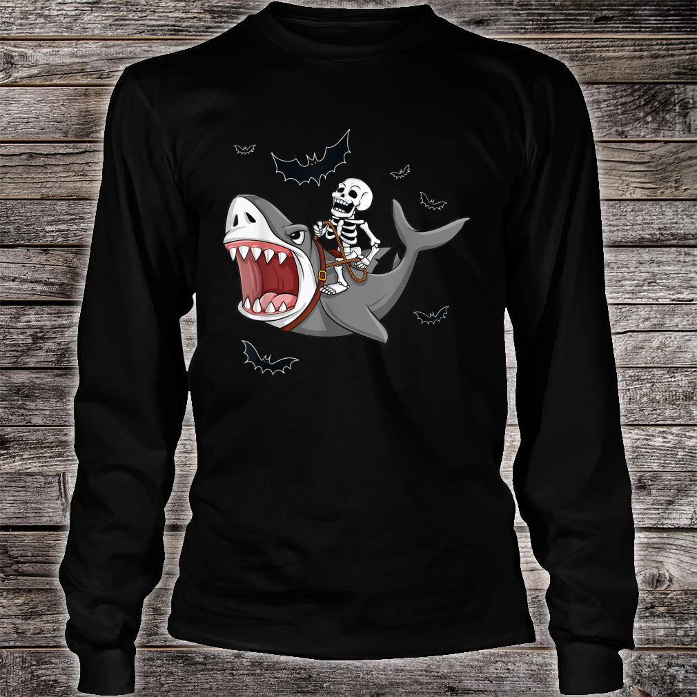 Halloween Skeleton Riding Shark Shirt long sleeved