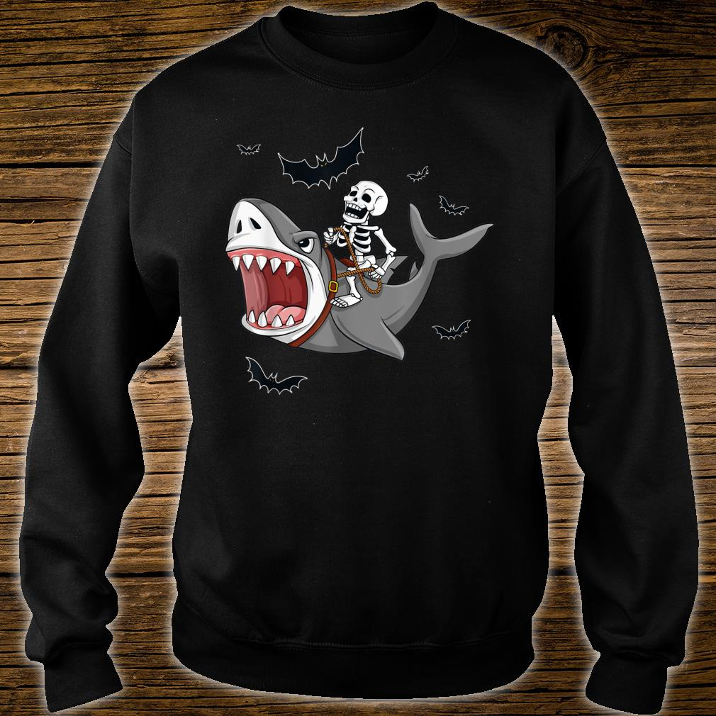 Halloween Skeleton Riding Shark Shirt sweater