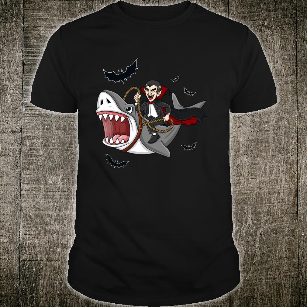 Halloween Vampire Riding Shark Shirt