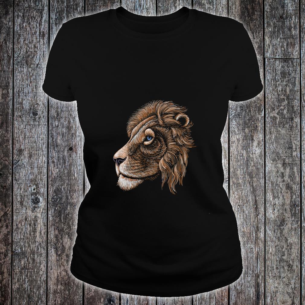 HandDrawn Realistic Lion Head Shirt ladies tee