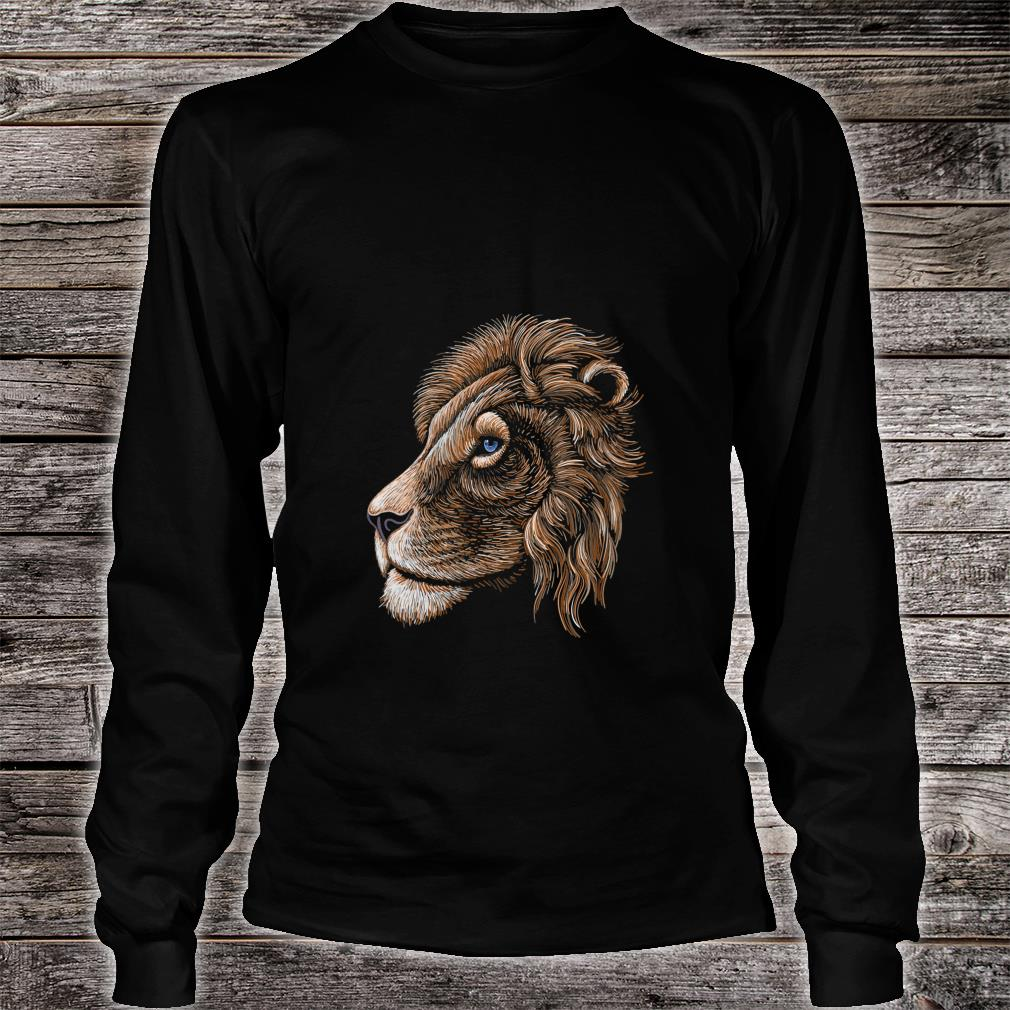 HandDrawn Realistic Lion Head Shirt long sleeved