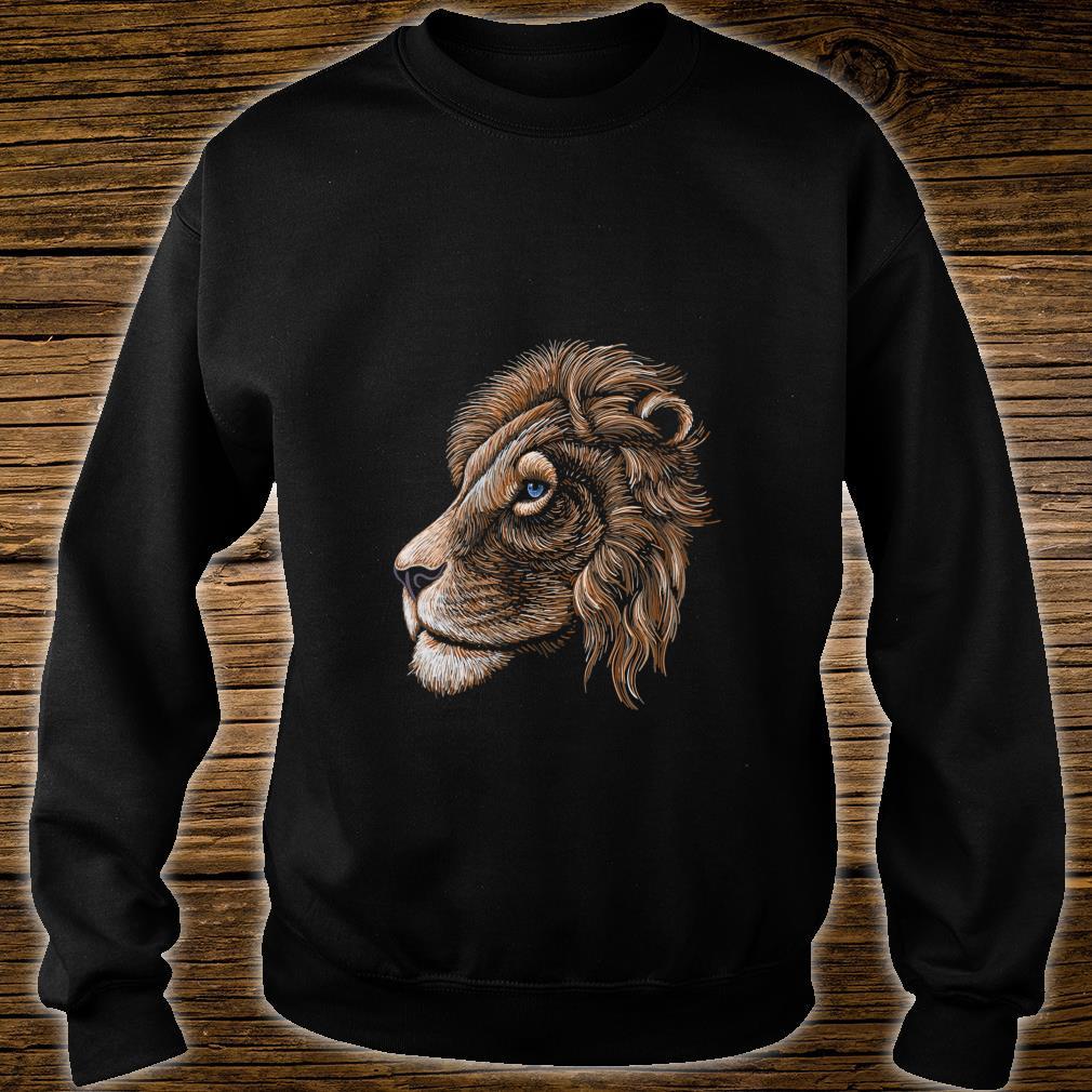 HandDrawn Realistic Lion Head Shirt sweater