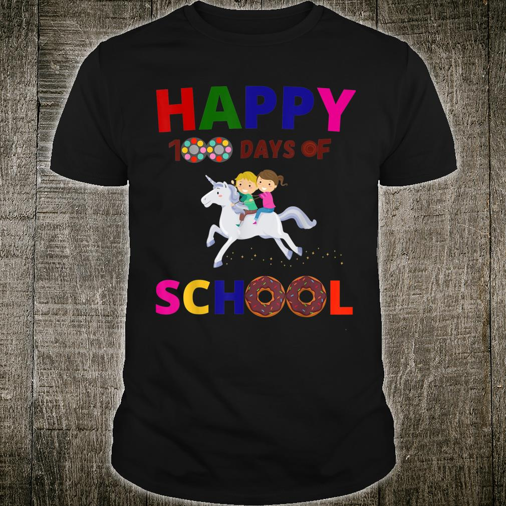 Happy 100 days of school 100th day white horse unicorn Shirt