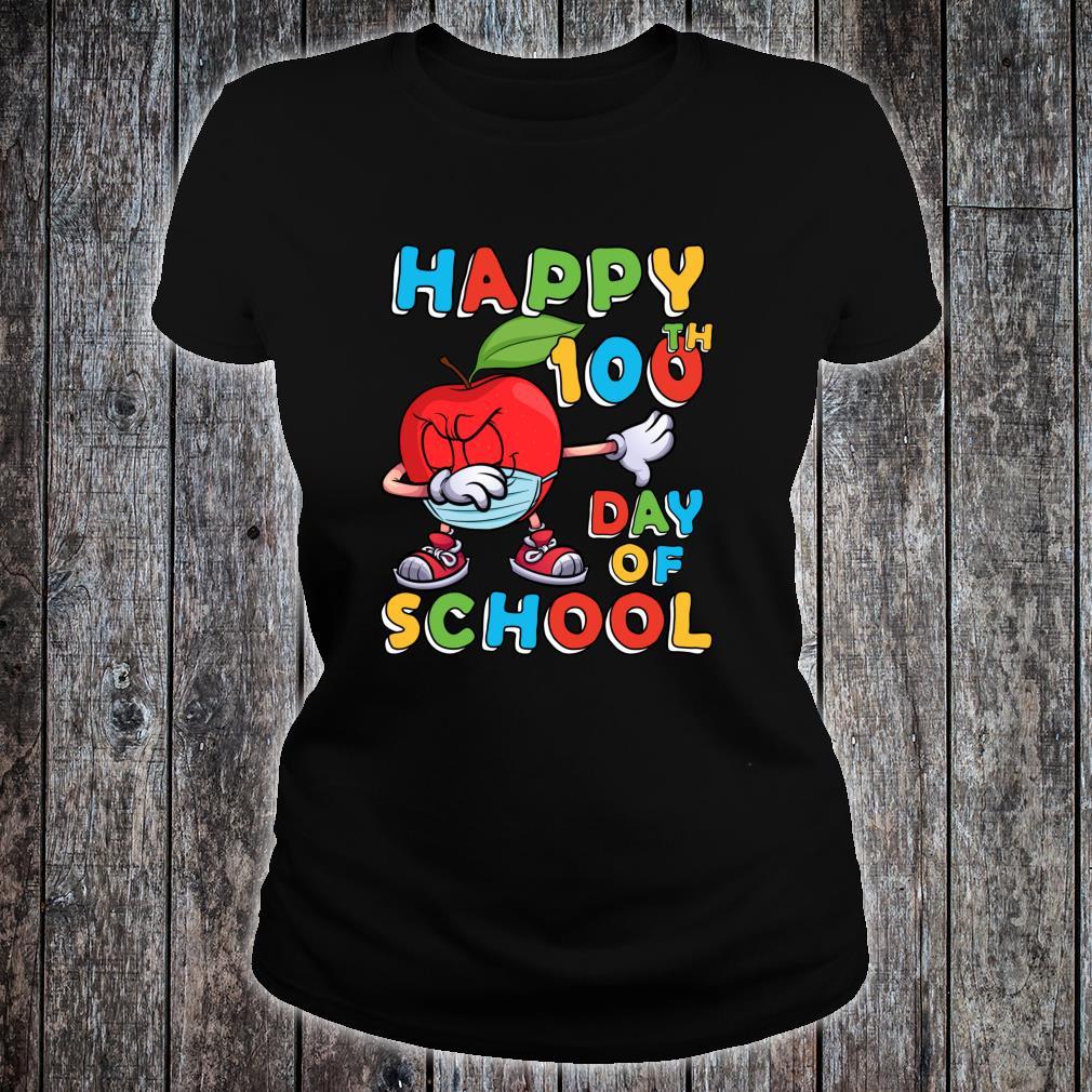 Happy 100th Day of School Dabbing Apple Wearing Mask Shirt ladies tee