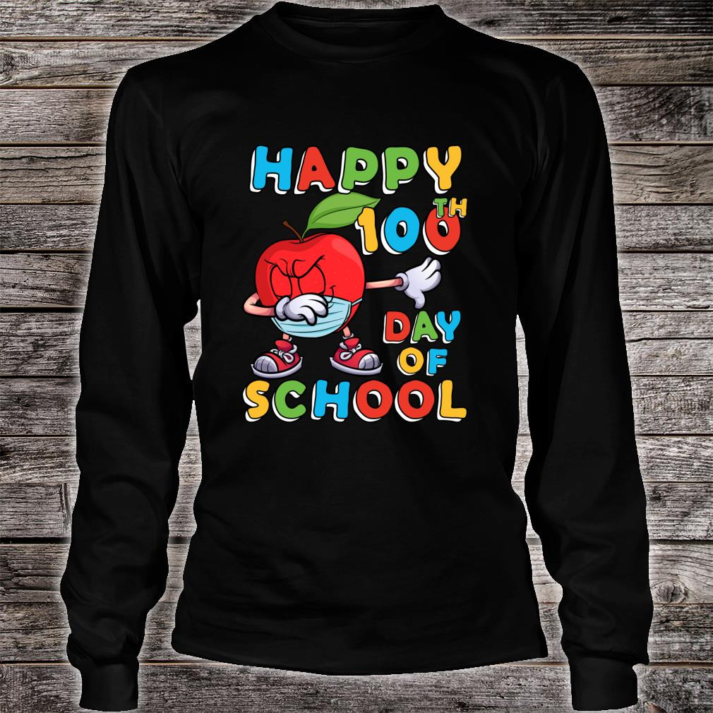 Happy 100th Day of School Dabbing Apple Wearing Mask Shirt long sleeved